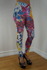 Multi Color Flowers Leggings