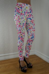 Small Pink Blue Flowers Leggings