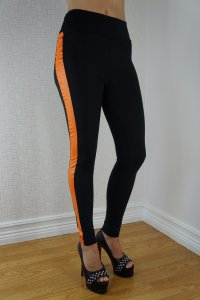 Black Orange Striped Sport Leggings