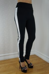 Black White Striped Gym Leggings