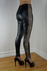 Black Leopard Faux Leather Look Leggings