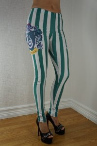 Green White Striped Leggings