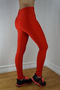 Zipper Neon Fluorescent Leggings Red