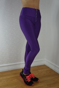 Zipper Neon Fluorescent Leggings Purple