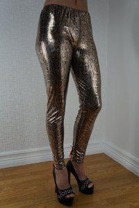 Snakeskin Faux Leather Look Leggings