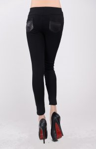 Black Faux Leggings With Rhinestone and Pockets