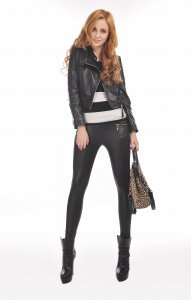 Black Faux Leather Leggings with Pockets