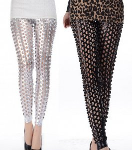 Silver Black Fish Scale Pierced Holes Leggings