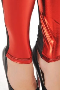 High Waist Metallic Leather Seamed Legging in Red