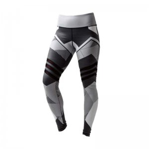 Gray Patterned Sport Fitness Yoga Workout Leggings