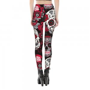 Gothic Skulls Rose Flower Leggings