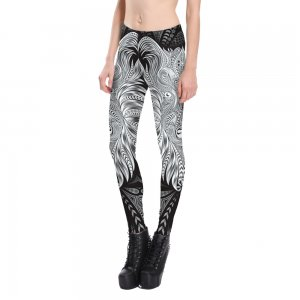 White Abstract Leggings