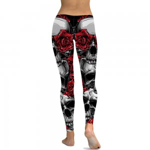 Red Rose Skull 3D Leggings