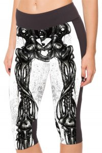 White Skeleton High Waist With Side Pocket Phone Capri Pants