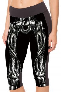 Black Skeleton High Waist With Side Pocket Phone Capri Pants