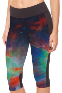 Red Nebula High Waist With Side Pocket Phone Capri Pants