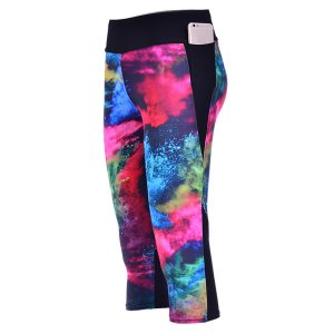 Color Ink High Waist With Side Pocket Phone Capri Pants