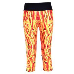 French Fries High Waist With Side Pocket Phone Capri Pants