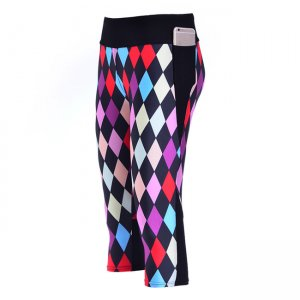 Color Diamond High Waist With Side Pocket Phone Capri Pants