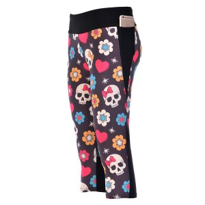Color Bow Skull High Waist With Side Pocket Phone Capri Pants