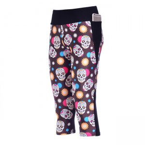 Dream Skulls High Waist With Side Pocket Phone Capri Pants