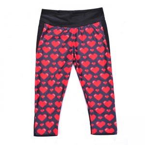 Red Love High Waist With Side Pocket Phone Capri Pants