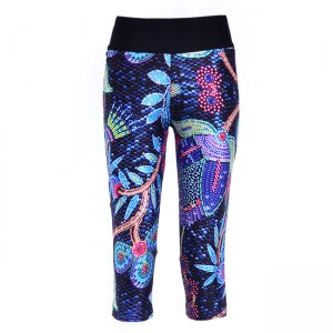 Retro Flower Woven High Waist With Side Pocket Phone Capri Pants