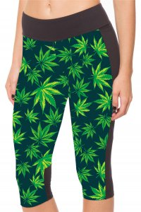 The Leaves High Waist With Side Pocket Phone Capri Pants
