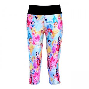 Beautiful Princess Cartoon High Waist With Side Pocket Phone Capri Pants