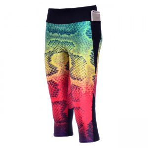 Color Snakeskin High Waist With Side Pocket Phone Capri Pants