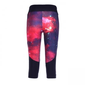 Red Star High Waist With Side Pocket Phone Capri Pants