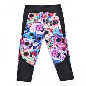 Color The Skull High Waist With Side Pocket Phone Capri Pants