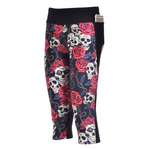 Rose Skulls High Waist With Side Pocket Phone Capri Pants