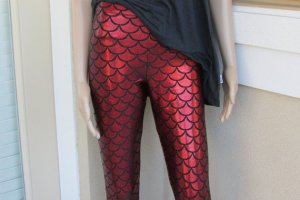 Mermaid Shiny Red Leggings