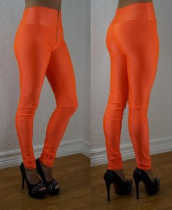 Zipper Neon Fluorescent Leggings Orange