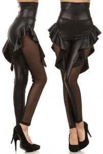 Black Color Faux Leather Stitching Leggings