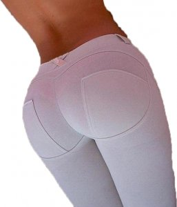 White Stretch Fit Shaping Butt Lifting Leggings