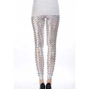 Silver Fish Scale Pierced Holes Leggings