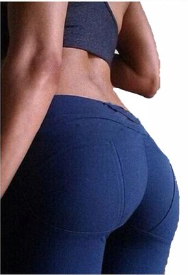 BLUE STRETCH FIT SHAPING BUTT LIFTING LEGGINGS