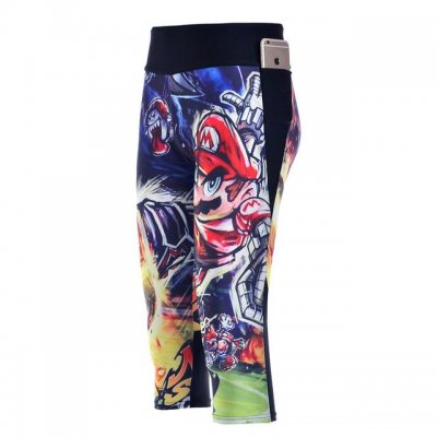 Super Mario High Waist With Side Pocket Phone Capri Pants