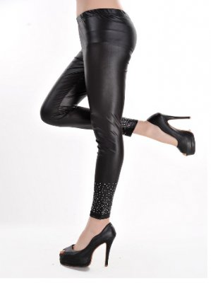 Black Faux Leggings With Rhinestone