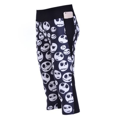 Smiley Face Skulls High Waist With Side Pocket Phone Capri Pants