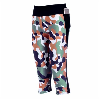 Camouflage With Side Pocket Phone Capri Pants