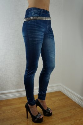 Slim Blue Jeans Print Leggings