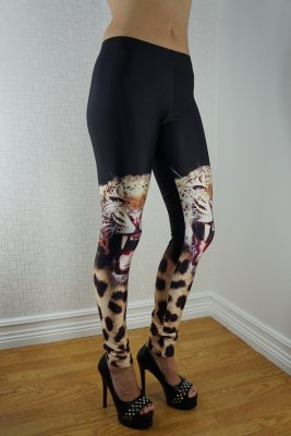 Leopard Leg Black Leggings