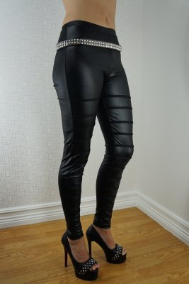 Black faux leather With Black Stripes Leggings