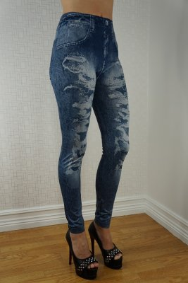 Hole Imitate Blue Jeans Print Leggings