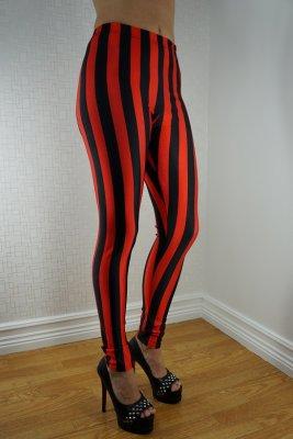 ac878420c6bf0 Black & Red Beetlejuice Leggings - Striped / Checkered / Circles - Leggings .cool