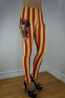 Yellow Red Striped Leggings