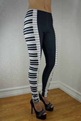Black Piano Leggings
